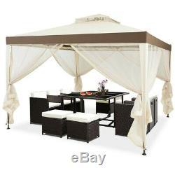 10' X 10' Outdoor Gazebo Steel Frame Vented Gazebo With Netting Beige Lawn Tent