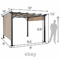 10'X10' Pergola Kit Metal Frame Gazebo & Canopy Cover Patio Furniture Shelter