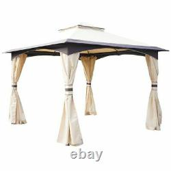 10' x 10' / 3Mx3M Outdoor Patio 2-tier roof Gazebo Canopy Steel Frame with Mesh