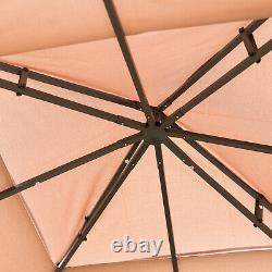 10' x 10' Outdoor Patio Gazebo Canopy Roof Steel Frame with Mesh Sidewalls