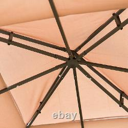 10' x 10' Outdoor Patio Gazebo Canopy Roof Steel Frame with Mesh Sidewalls Brown
