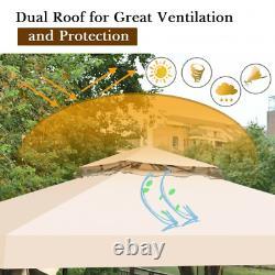 10' x 10' Outdoor Steel Frame Backyard Gazebo Canopy with Mosquito Netting NEW