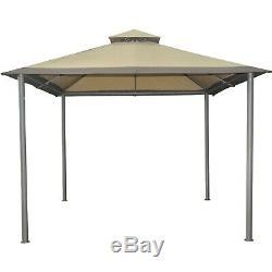 10' x 10' Steel Frame Garden Pavillion Gazebo, Canopy, Shade Cover, Sun Shelter