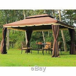 10'x13' Aluminum Gazebo Tent Garden Shelter Sidewalls Roof Pavilion Sun Cover