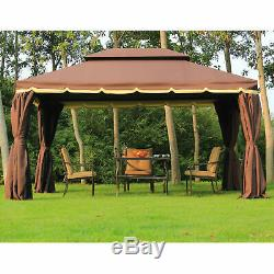 10'x13' Double Top Gazebo Canopy with Mesh Netting & Curtains Patio Garden Outdoor