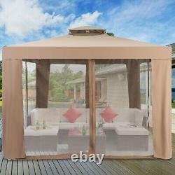 10x 10 Canopy Gazebo Tent Shelter Garden Lawn Patio WithMosquito Net Coffee
