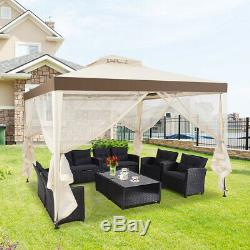 10x 10 Patio Canopy Gazebo Tent Shelter withMosquito Netting Steel Frame Beige