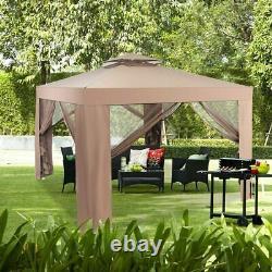 10x10 Canopy Gazebo Tent Art Steel Frame Patio Garden WithMosquito Netting Brown