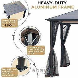 10x12 Outdoor Hardtop Gazebo for Patios Metal Aluminum Frame Black
