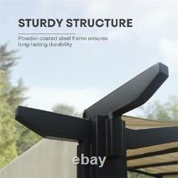 10x8 Pergola Gazebo Steel Frame Sun Shelter withRetractable Canopy Shades Beige