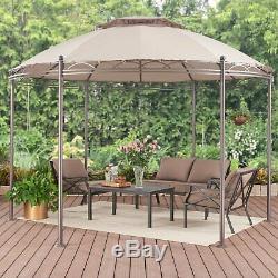 11' ROUND PATIO GAZEBO CANOPY Polyester Steel Frame Outdoor Garden Backyard Pool
