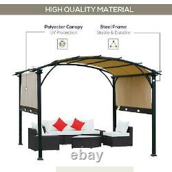 11' x 11' Outdoor Patio Gazebo Pergola with Retractable Canopy Roof, Steel Frame