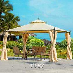 12 FT Outdoor Canopy Gazebo Steel Frame Sturdy and Stable with Vented Soft Top
