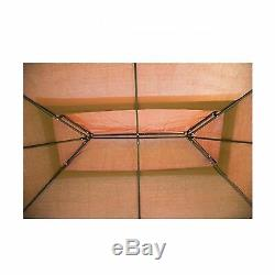 12'X 10' Outdoor Steel Vented Gazebo with Mosquito Netting Brown N34