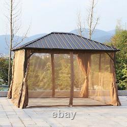 12' x 10' Backyard Steel Hardtop Aluminum Frame Gazebo with Screened Curtain