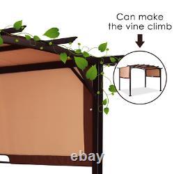 12' x 9' Pergola Kit Metal Frame Grape Gazebo & Canopy Cover