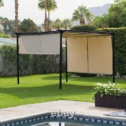 12'x10' Backyard Gazebo with Metal Frame and Retractable Sliding Beige Canopy N