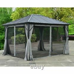 12'x10' Steel Frame Outdoor Patio Gazebo Pavilion Canopy Tent with Curtains New
