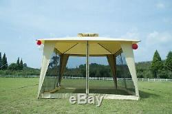 12x12 Patio Metal Gazebo 2-Tier Yard Garden Canopy Party Tent Outdoor Netting