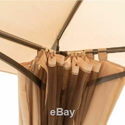 13' x 10' Outdoor Gazebo Steel Frame Vented Gazebo Canopy Curtains Netting Beige