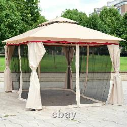 13'x10'Outdoor Canopy Gazebo Art Steel Frame Party Patio Canopy Gazebo WithNetting