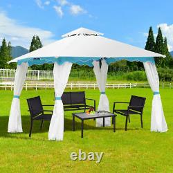 2 Tier 10'x10' Patio Gazebo Canopy Tent Steel Frame Shelter Awning WithSide Walls