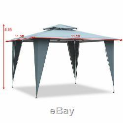 2 Tier 11.5'x11.5' Gazebo Canopy Shelter Awning Tent Steel Frame Patio Garden