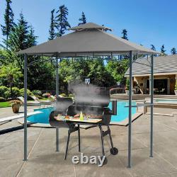 5x8 Grill Gazebo Double Tiered Canopy Outdoor Patio BBQ Tent and Steel Frame