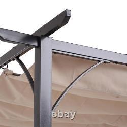 7.5 ft. H Retractable Canopy Cover Steel Frame Classic Pergola Gazebo