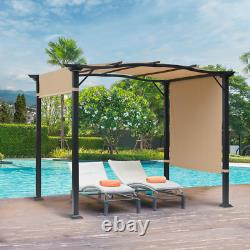 7.5 ft. H Steel Frame Polyester Fabric Gazebo with Retractable Canopy Shade Awni
