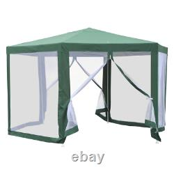8.2 ft. Steel Frame Hexagon Sun Shade Canopy Tent with Protective Mesh Screen Wa