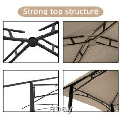 8 x 5 Ft Khaki Soft Double Tier Outdoor Grill Gazebo Steel Frame Shelter Tent