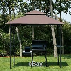 8'x5' BBQ Gazebo Tent Pavilion Grill Canopy Shade Coffee