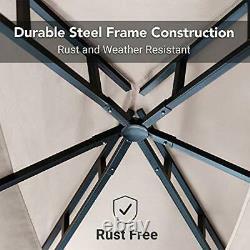 8x5 Outdoor Grill Gazebo 2-Tier Vented BBQ Canopy Steel Frame Beige