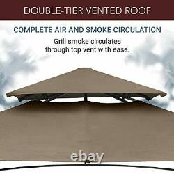 8x5 Outdoor Grill Gazebo 2-Tier Vented BBQ Canopy Steel Frame Brown