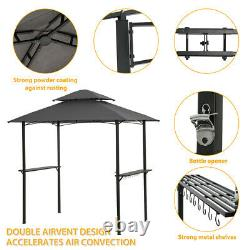 8x5ft Outdoor Grill Gazebo Shelter BBQ Outdoor Tent Steel Frame Bar Counters US