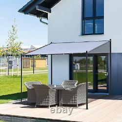 9.8' x 9.3' Backyard Deck Pergola Cabana with Steel Frame & Spacious Build, Grey