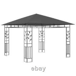9.8' x 9.8' Gazebo Tent and Mosquito Net Steel Frame Outdoor Backyard Anthracite