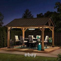 A102008000 Gale 10x12 ft. Cedar Framed Gazebo with Steel Gable Hardtop Roof, Br