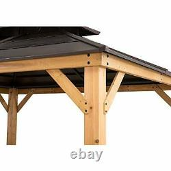 A102008600 Chapman 10x12 ft. Cedar Framed Gazebo with Steel 2-Tier 10x12 ft