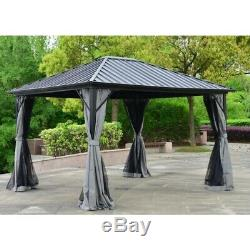 ALEKO Aluminum and Steel Hardtop Gazebo 12' x 10'with Mosquito Net and Curtain