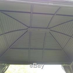 ALEKO Hardtop Round Roof Patio Gazebo with Mosquito Net 12 x 10 Feet Black