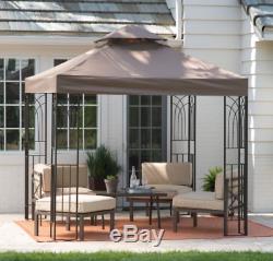 Backyard Gazebo Pergola Metal Canopy Shade Brown 8' x 8' Garden Patio Deck New