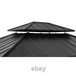 Bridgeport 11 x 13 ft. Cedar Framed Gazebo with Steel Hardtop, Black Sunjoy