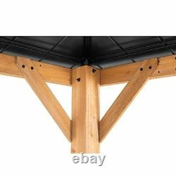 Bridgeport Cedar Framed Gazebo with Steel Hardtop, Black 11 x 13 ft