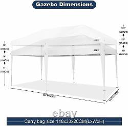 COBIZI 10'x20' Pop Up Canopy Wedding Party Tent Gazebo with 6 Zippered Sidewalls