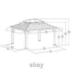 GAZEBO with SKYLIGHT 12.9' x 14.9' Aluminum Frame BROWN + Steel Roof BLACK