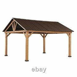 Gale 11 x 13 ft. Cedar Framed Gazebo with Steel Gable Hardtop Roof, Brown
