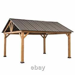 Galleria Collection 13 x 15 ft. Cedar Framed Gazebo with Steel Gable Brown