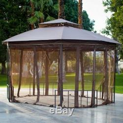 Garden Gazebo Canopy Large 10 x 12 ft Outdoor Sun Shade Cover with Bug Netting